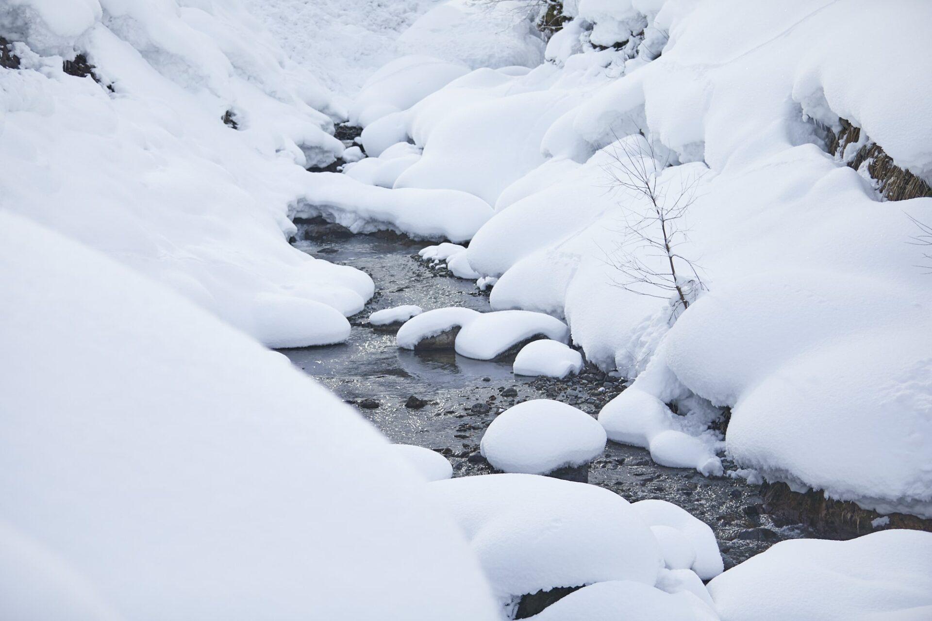 魚沼の雪解け水